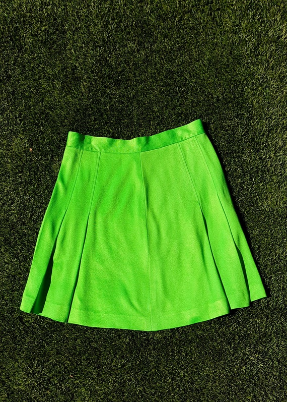 Vintage 70s Tennis Skirt, Vintage Lime Green Tenni