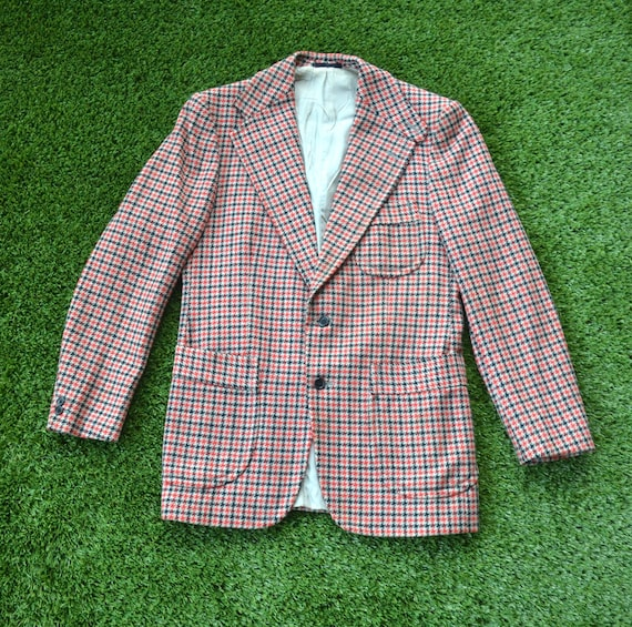 Vintage 70s Houndstooth Suit Jacket, fully lined … - image 1