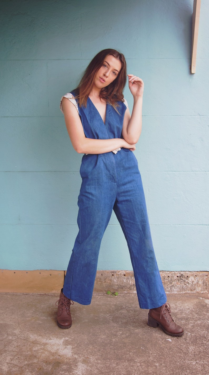 ecf691d19f26 Vintage 70s Deep Plunge Denim Overalls Jumpsuit Cat-suit