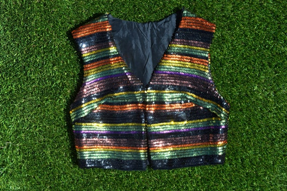 Vintage 80s JOE EXOTIC Sequin Vest. 80s Sequin Rai