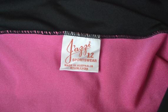 Vintage 80s Pink and Black Exercise Leotard, Size… - image 4