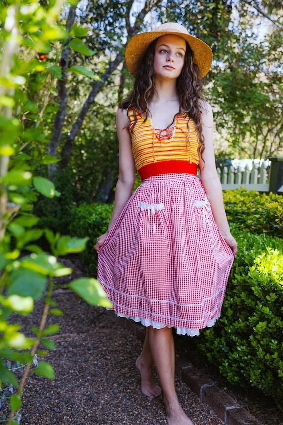 Vintage 70s Gingham Skirt, Cotton Pin Up Skirt, P… - image 3