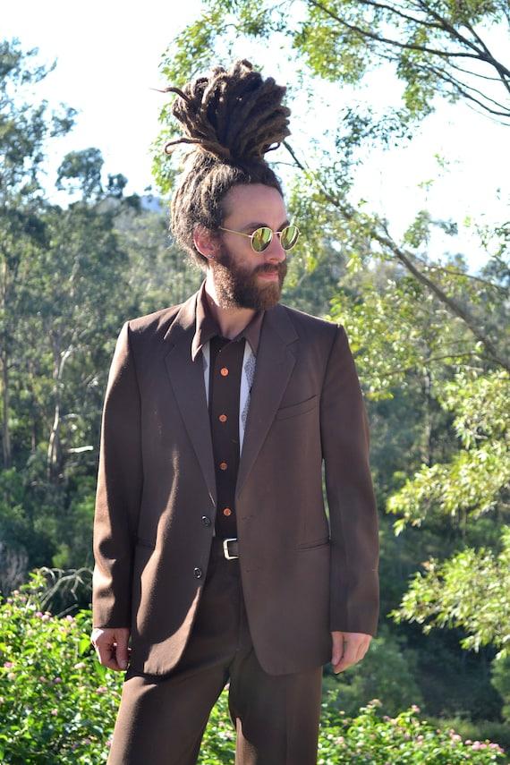 Vintage 70s Brown Suit, Full Suit, 70s Suit Jacket