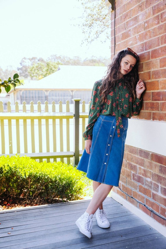 Vintage 70s Denim Skirt, Size 8 70s Skirt, That 70