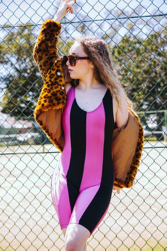 Vintage 80s Pink and Black Exercise Leotard, Size… - image 7