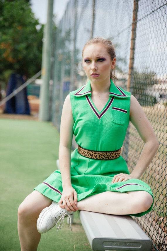 Vintage 70s Green Tennis Dress, Vintage Pleated 70