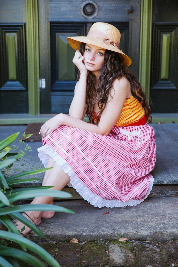 Vintage 70s Gingham Skirt, Cotton Pin Up Skirt, P… - image 4