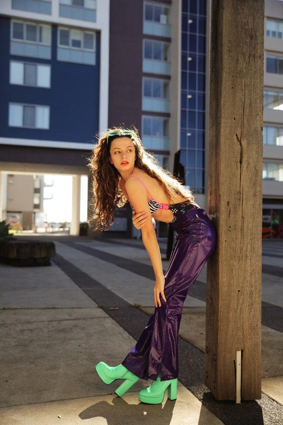 Vintage 90s/ Y2K PVC Rave Pants. Plastic Pants. Sh
