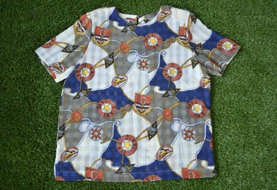 Vintage 80s Shirt, Size 16 80s Nautical Shirt. 80s