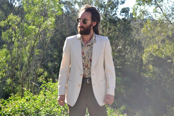 Vintage 70s Cream Mens Suit Jacket, Size Medium, S
