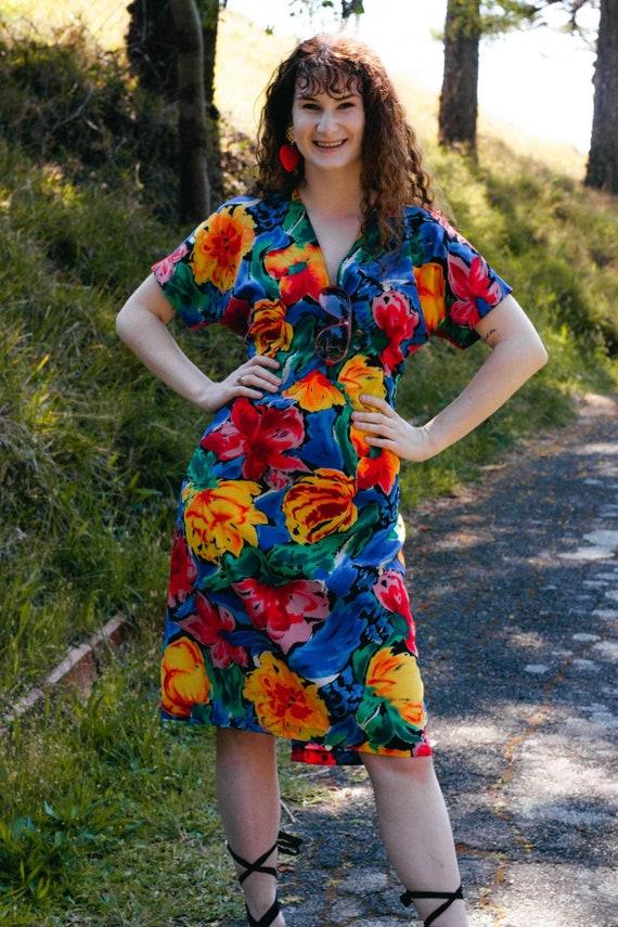 Vintage 80s Rainbow Dress, Size 14, Vintage Rainbo