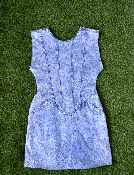 Vintage 80s Denim Dress, 80s Acid Washed Denim Dre