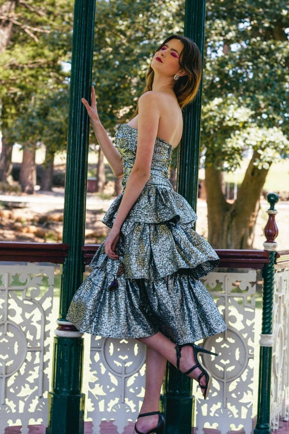 Vintage 80s Prom Dress Size 12 Metallic, Metallic