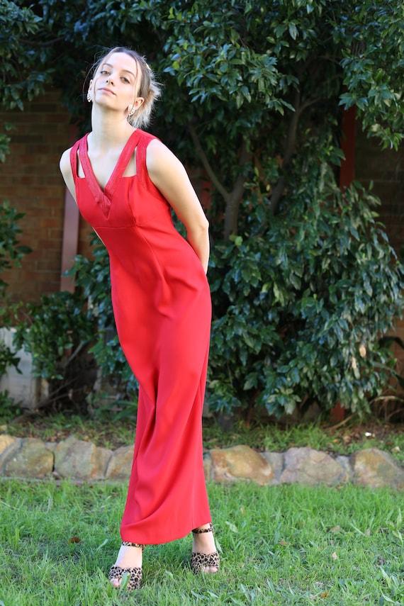 Vintage 1990's Red Formal Dress, Size 8, Side Slit