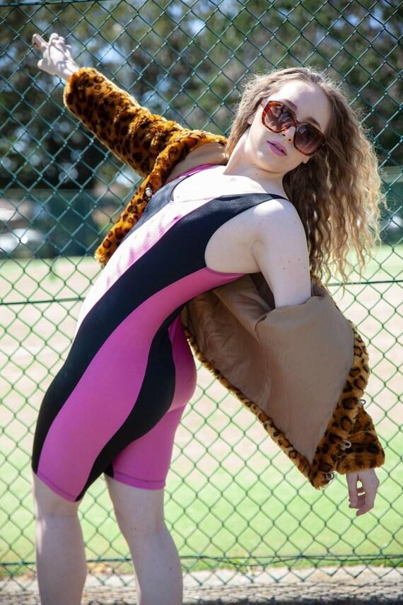 Vintage 80s Pink and Black Exercise Leotard, Size… - image 3