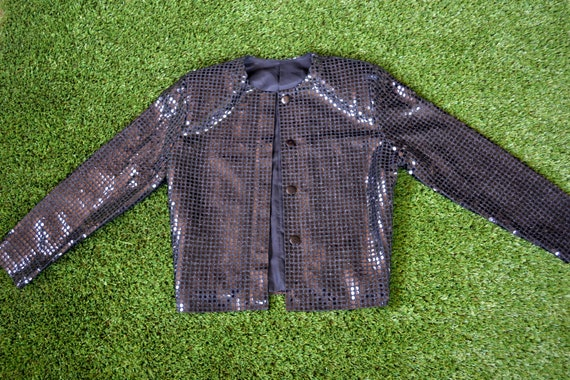Vintage 80s Jacket. 80s Black Sequin Jacket. Size