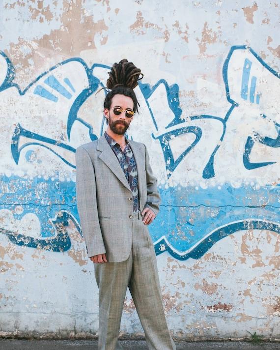 Vintage 70s  Grey Plaid Mens Suit, Size 42, Suit J