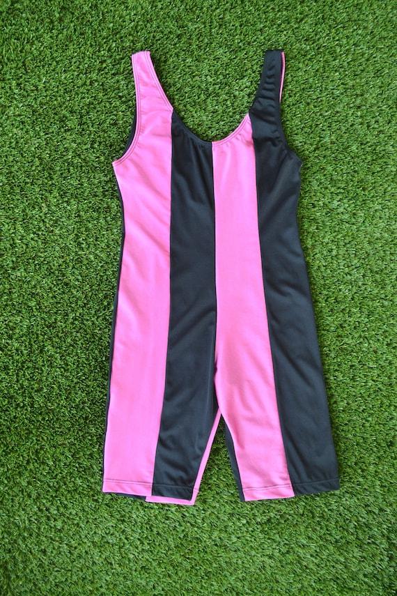 Vintage 80s Pink and Black Exercise Leotard, Size… - image 2