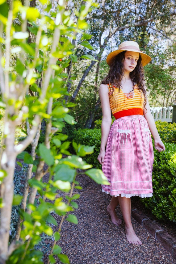 Vintage 70s Gingham Skirt, Cotton Pin Up Skirt, P… - image 1