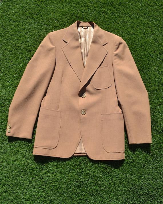 Vintage 70s Mens Suit Jacket, Size Medium, Coffee