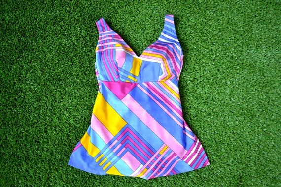 Vintage 60s Psychedelic Swimsuit, Vintage 60s Bath