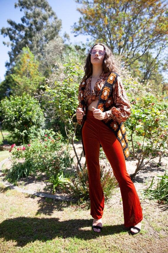 Vintage 70s Brown Crochet Duster, 70s Crochet Vest