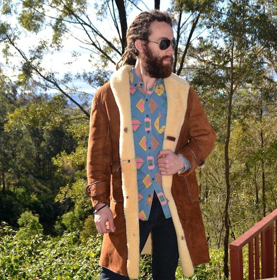 Vintage 70s Sheepskin Australian Drover Jacket, 70