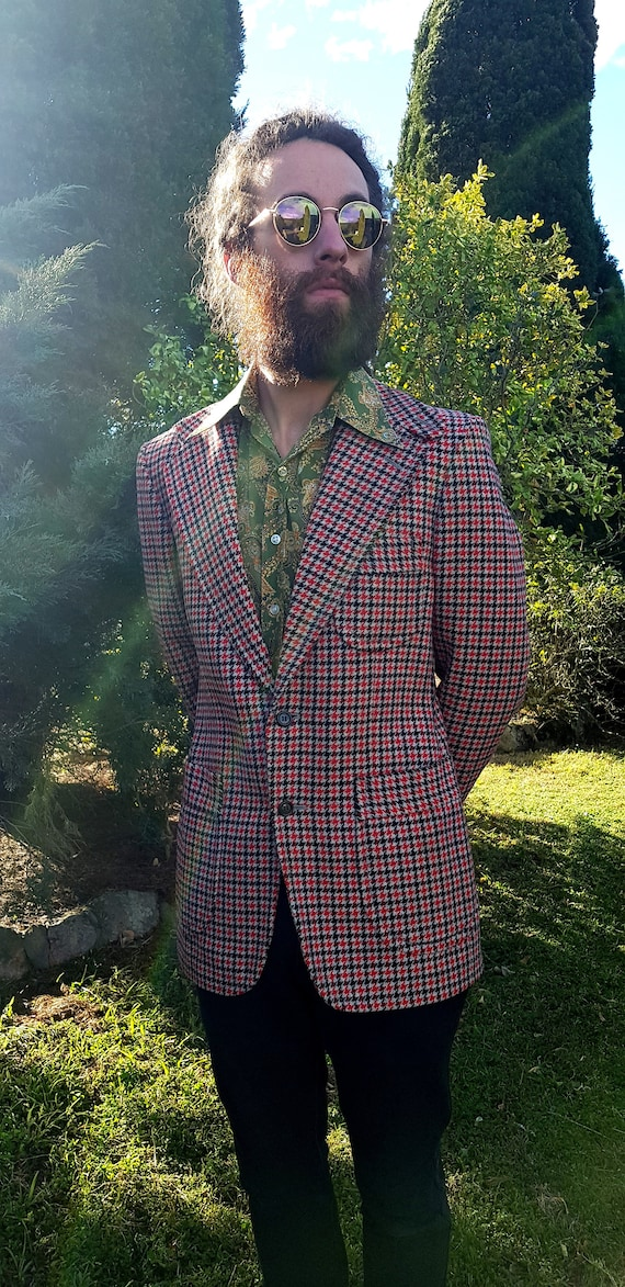Vintage 70s Houndstooth Suit Jacket, fully lined … - image 3