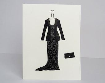 America Ferrera | Black Sparkle Gown | Handmade Card