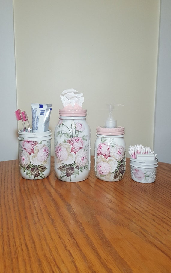Vintage Pink Rose Bathroom Set Mason Jar Set Decoupage Jar Bathroom Organizer Bathroom Accessories Bathroom Decor Bathroom Storage