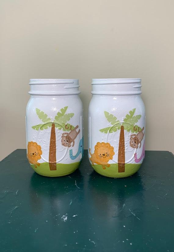 Safari Of 2 Mason Jars Baby Shower Decorations Girl Or Boy Etsy