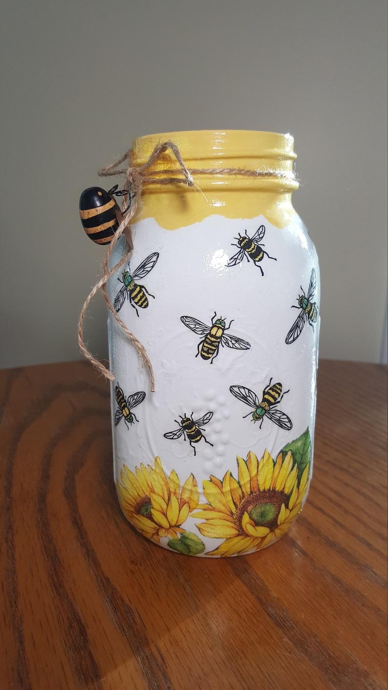 HONEY BEE  Sunflower Mason Jar Vase Mason Jar Centerpiece image 8