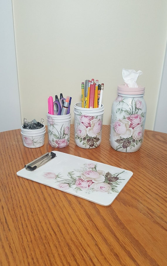 Stupendous Vintage Pink Roses Mason Jar Desk Set Decoupage Jar Office Desk Organizer Desk Office Decor Office Desk Accessories Desk Office Supplies Beutiful Home Inspiration Xortanetmahrainfo