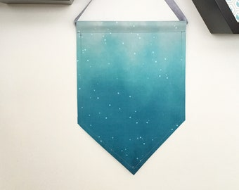 blue ombre star decorative banner or enamel pin display