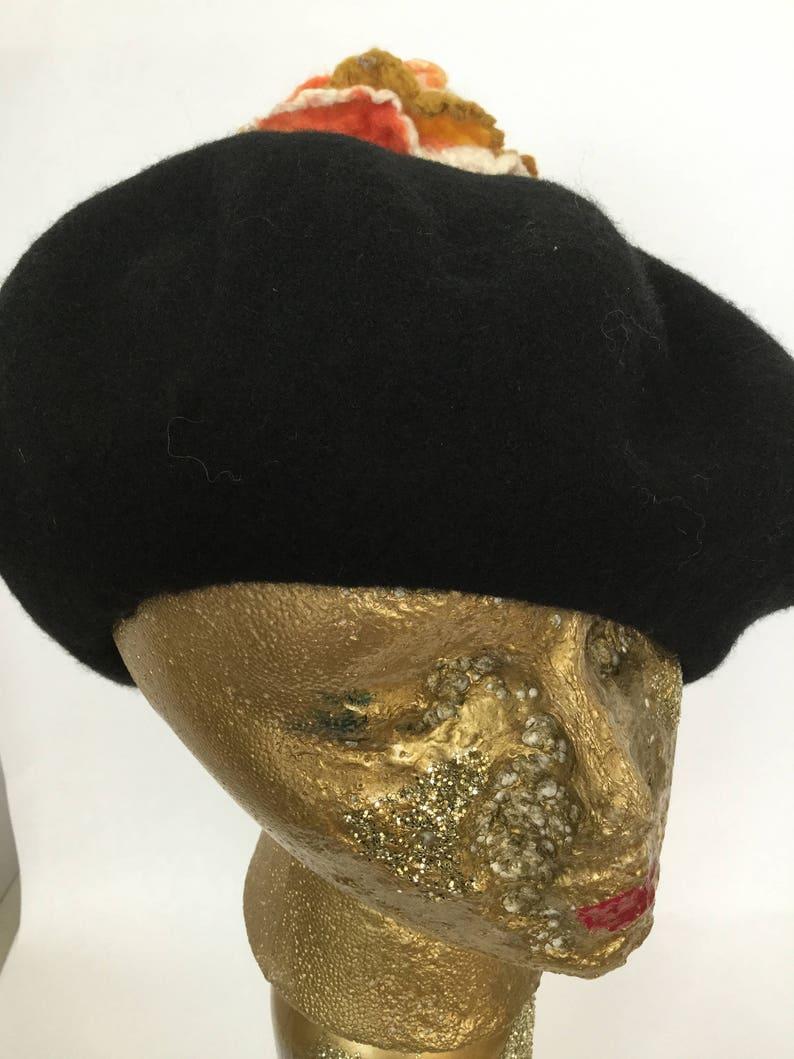 e07aae16d25fe Black Beret Tam Hat Tattered Rose Flower Vintage French