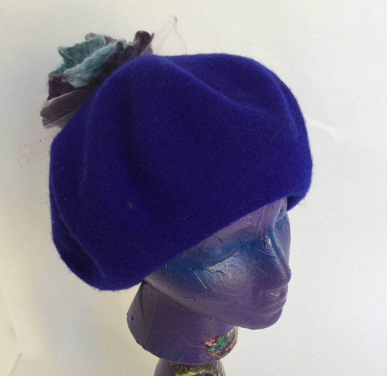 69877352792bd Blue Beret Tam Hat Tattered Rose Flower Vintage French