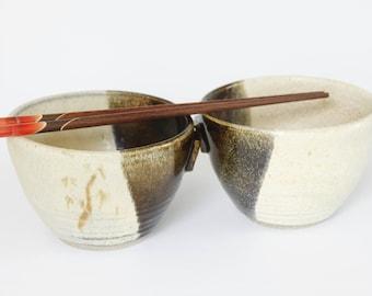 Pair of handmade ceramic serving bowls - Brown and straw pottery bowls – Rice bowls - Dinnerware bowls - Noodle bowls - Pho bowls