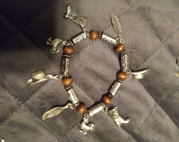 Frog The Rooster Chicken Farmer Charm Bracelet