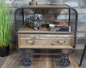 Small Industrial Cabinet Vintage Retro Furniture Large Bedside Table Rustic Metal Plant Lamp Stand 1 Wooden Display Storage Chest Drawer