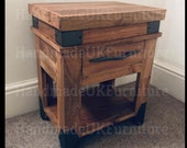 Industrial Side Table Vintage Retro Cabinet Rustic Solid Wood Storage Coffee Drawer Small Metal Room Bedside Shelf End Unit Plant Lamp Stand