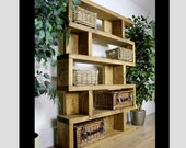 Large Rustic Bookcase Industrial Style Furniture Oak Solid Wood Shelving Unit Tall Wooden Vintage Cabinet Storage Room Antique Display Unit