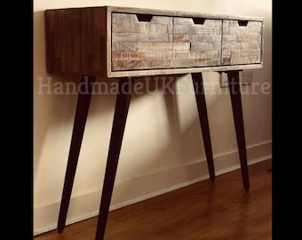 Handmade Wooden Console Table Cabinet Sideboard 3 Drawers Solid Wood Hallway