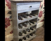 Rustic Wine Cabinet Shabby Chic Furniture Wooden Bottle Holder Industrial Style Mini Storage Bar Rack Solid Wood 1 Drawer Free Standing Unit