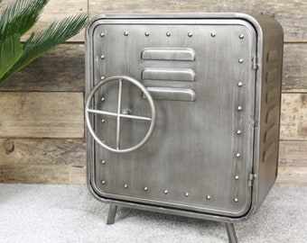 Industrial Bedside Table Vintage Retro Nightstand Metal Side Cabinet Room Storage Shelf Cupboard Unit Safe Style Rustic Plant Lamp Stand