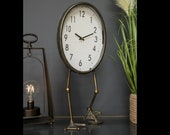 Vintage Table Clock Industrial Metal Bird Feet Desk Decor Shabby Chic Home Office Accessories Tall Round Furniture Rustic Gold Bedside Unit