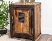Industrial Side Cabinet Vintage Retro Bedside Table Small Storage Door Cupboard Unit Rustic Metal Shelf Solid Wood Furniture Plant Stand