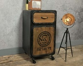 Industrial Side Cabinet Rustic Metal Bedside Table Vintage Retro Storage Cupboard Door Small Chest 1 Drawer On Wheels Unit Plant Lamp Stand