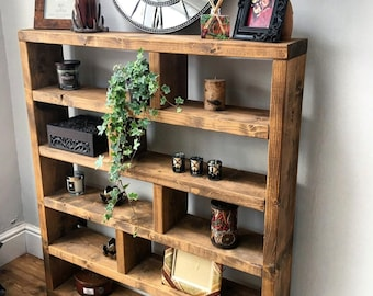 Industrial Style Bookcase Large Rustic Furniture Tall Vintage Shelving Display Unit Solid Wood Storage Cabinet Medium Or Dark Oak Bookshelf