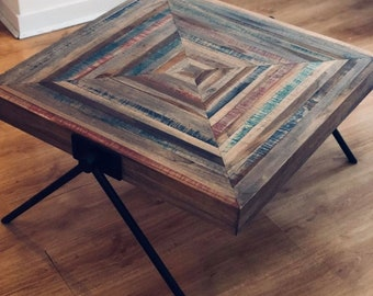 Industrial Coffee Table Vintage Living Room Solid Reclaimed Wood Retro Style  Small Metal Leg Handmade Rustic Large Square Furniture