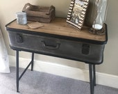 Industrial Console Table Vintage Hallway Furniture Rustic Wood Side Cabinet Storage Entryway Low Sideboard Retro Style Lamp Stand Metal Leg